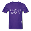 Peace, Love and Cows Hanes Adult Tagless T-Shirt - purple