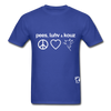 Peace, Love and Cows Hanes Adult Tagless T-Shirt - royal blue