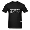 Peace, Love and Cows Hanes Adult Tagless T-Shirt - black