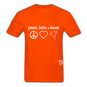 Peace, Love and Cows Hanes Adult Tagless T-Shirt - orange