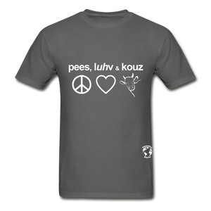 Peace, Love and Cows Hanes Adult Tagless T-Shirt - charcoal