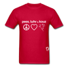 Peace, Love and Cows Hanes Adult Tagless T-Shirt - red