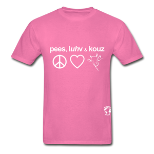 Peace, Love and Cows Hanes Adult Tagless T-Shirt - hot pink