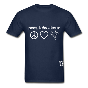 Peace, Love and Cows Hanes Adult Tagless T-Shirt - navy