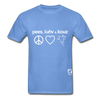 Peace, Love and Cows Hanes Adult Tagless T-Shirt - carolina blue