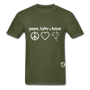 Peace, Love and Cows Hanes Adult Tagless T-Shirt - military green