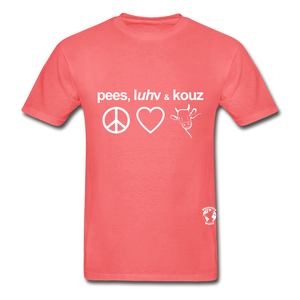 Peace, Love and Cows Hanes Adult Tagless T-Shirt - coral