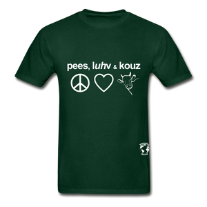 Peace, Love and Cows Hanes Adult Tagless T-Shirt - forest green