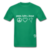 Peace, Love and Cows Hanes Adult Tagless T-Shirt - kelly green