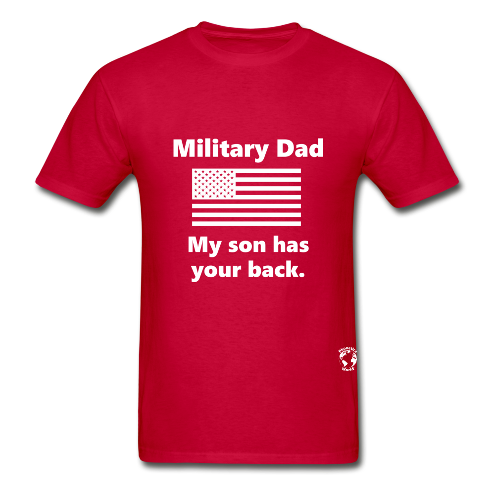 Military Dad My Son has your Back T-Shirt - red