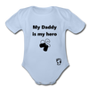 My Daddy is my Hero Organic Short Sleeve Baby Bodysuit - sky