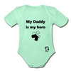 My Daddy is my Hero Organic Short Sleeve Baby Bodysuit - light mint