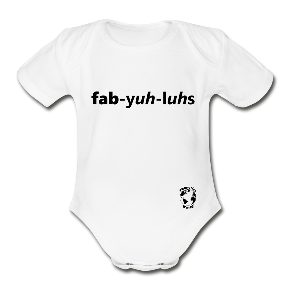 Fabulous Organic Short Sleeve Baby Bodysuit - white