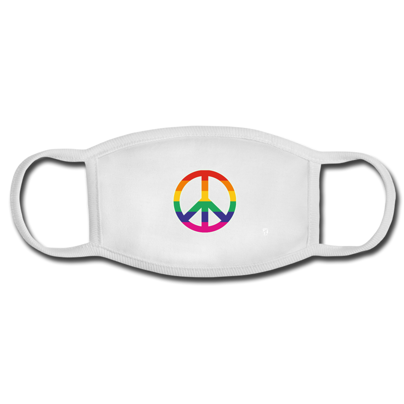 Rainbow Peace Sign Face Mask - white/white