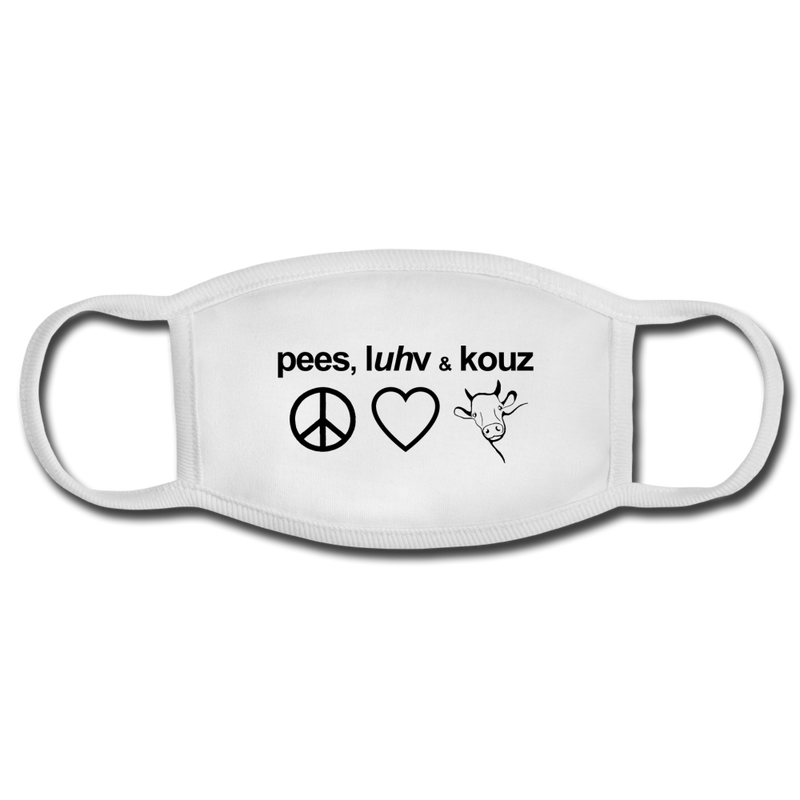 Peace, Love and Cows Face Mask - white/white