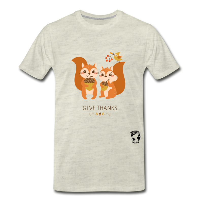 Thanksgiving Squirrels Premium T-Shirt - heather oatmeal