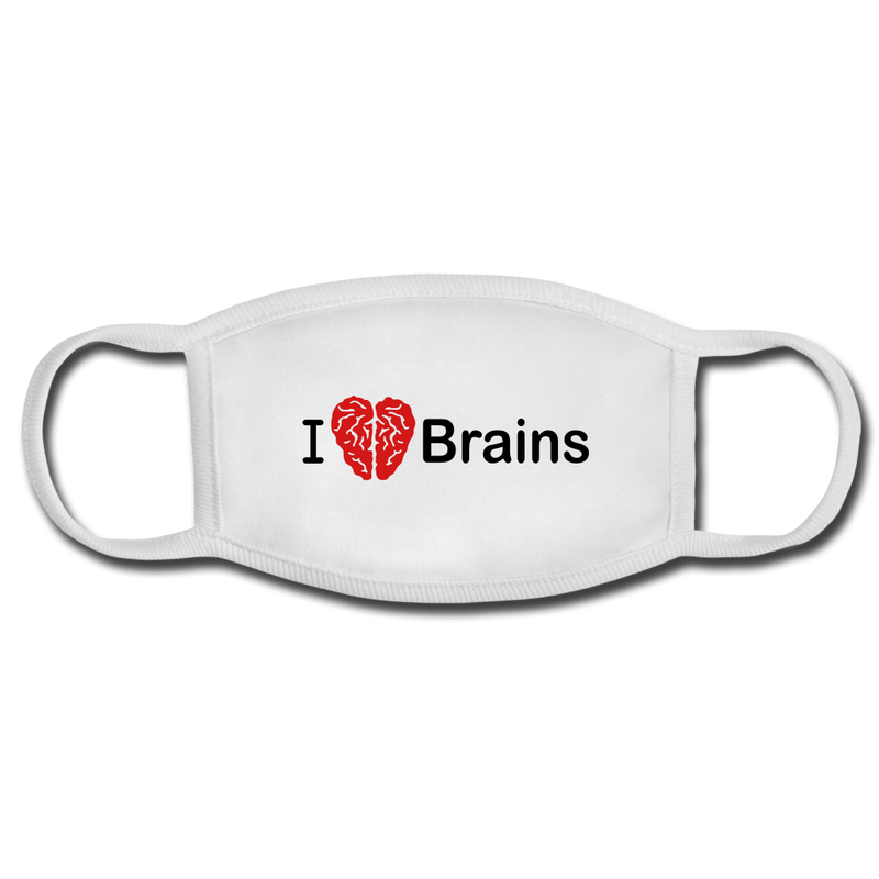 I Love Brains Face Mask - white/white