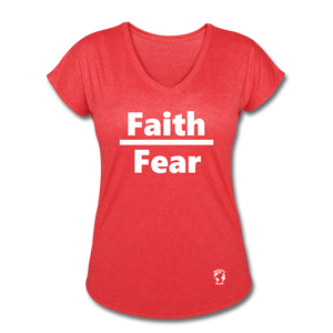 Faith over Fear Women's Tri-Blend V-Neck T-Shirt - heather red