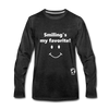Smiling's my Favorite Premium Long Sleeve T-Shirt - charcoal gray