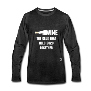 Wine is the Glue Premium Long Sleeve T-Shirt - charcoal gray