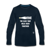 Wine is the Glue Premium Long Sleeve T-Shirt - deep navy