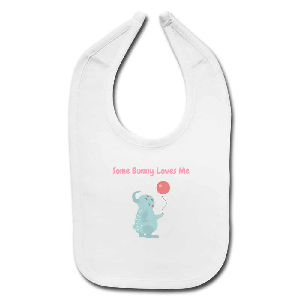 Some Bunny Loves Me Baby Bib - white