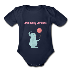 Some Bunny Loves Me Organic Short Sleeve Baby Bodysuit - dark navy