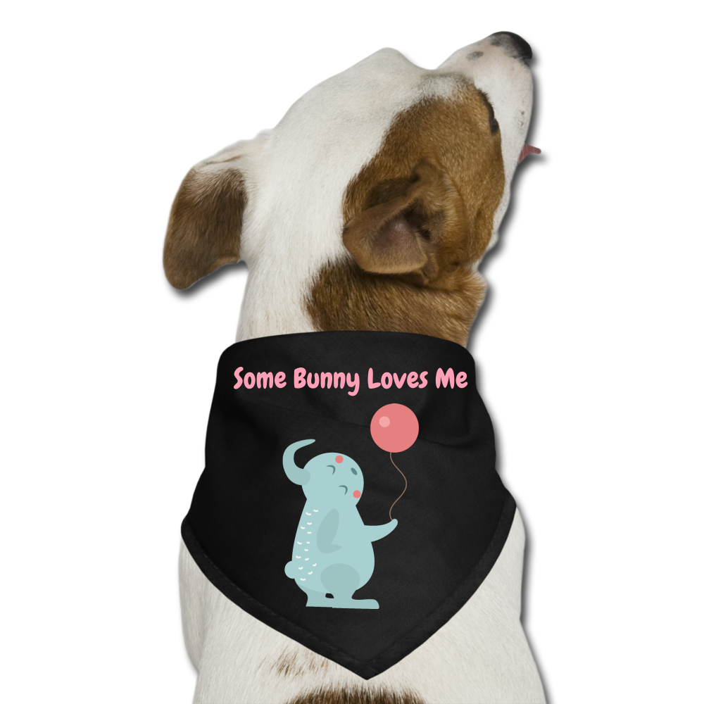 Some Bunny Loves Me Dog Bandana - black