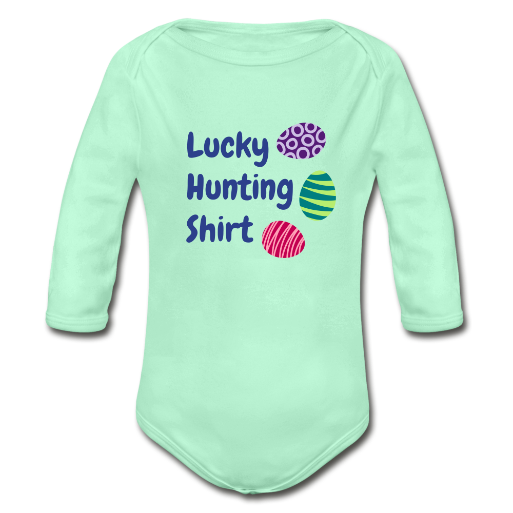 Lucky Hunting Shirt Organic Long Sleeve Baby Bodysuit - light mint