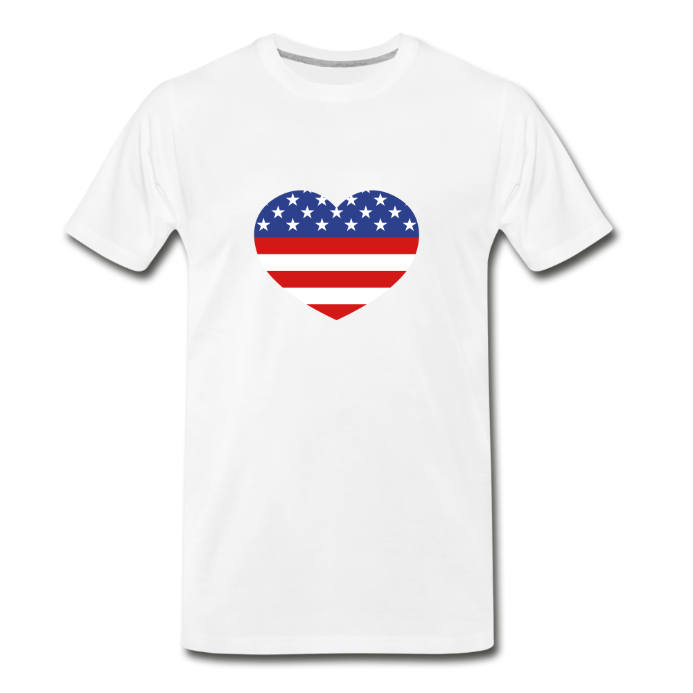 American Flag Heart Premium T-Shirt - white