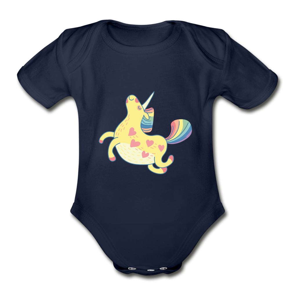 Happy Unicorn Organic Short Sleeve Baby Bodysuit - dark navy