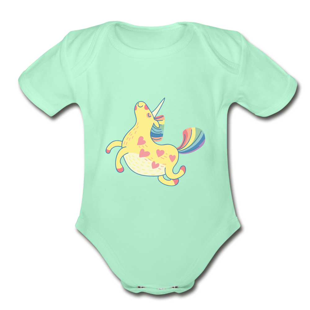 Happy Unicorn Organic Short Sleeve Baby Bodysuit - light mint
