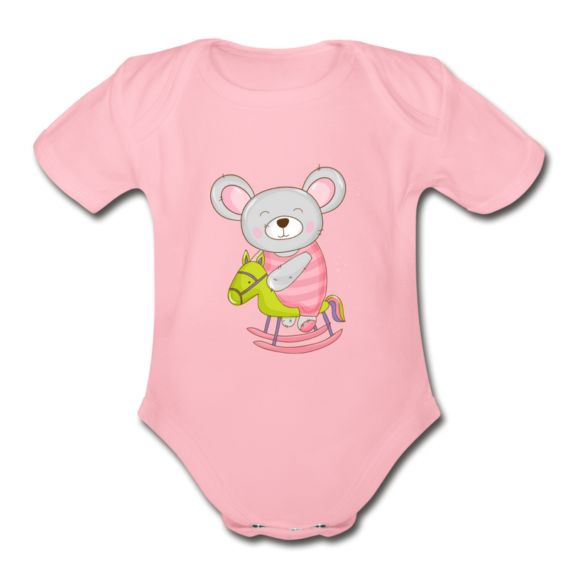 Rocking Horse Mouse Organic Short Sleeve Baby Bodysuit - light pink