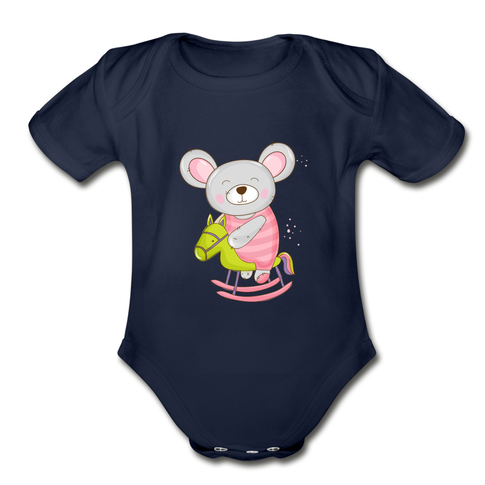 Rocking Horse Mouse Organic Short Sleeve Baby Bodysuit - dark navy