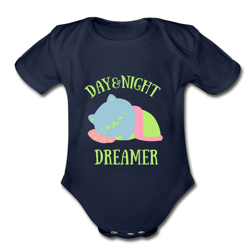 Day & Night Dreamer Organic Short Sleeve Baby Bodysuit - dark navy