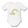 Sleeping Rainbow Mouse Organic Short Sleeve Baby Bodysuit - white