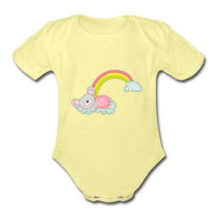 Sleeping Rainbow Mouse Organic Short Sleeve Baby Bodysuit - washed yellow