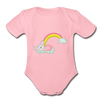 Sleeping Rainbow Mouse Organic Short Sleeve Baby Bodysuit - light pink