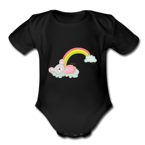 Sleeping Rainbow Mouse Organic Short Sleeve Baby Bodysuit - black