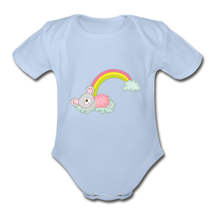 Sleeping Rainbow Mouse Organic Short Sleeve Baby Bodysuit - sky