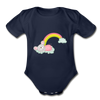 Sleeping Rainbow Mouse Organic Short Sleeve Baby Bodysuit - dark navy
