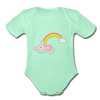 Sleeping Rainbow Mouse Organic Short Sleeve Baby Bodysuit - light mint