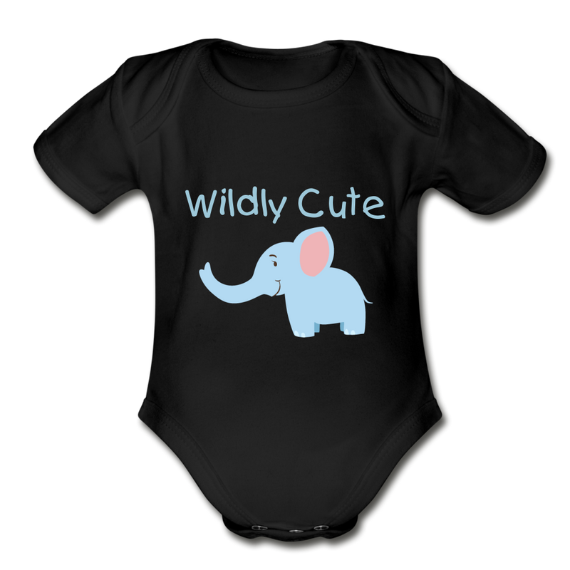 Wildly Cute Elephant Organic Short Sleeve Baby Bodysuit - black