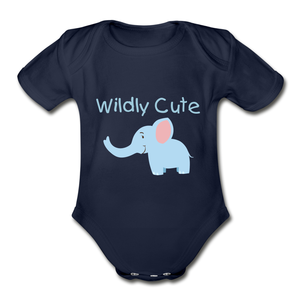 Wildly Cute Elephant Organic Short Sleeve Baby Bodysuit - dark navy