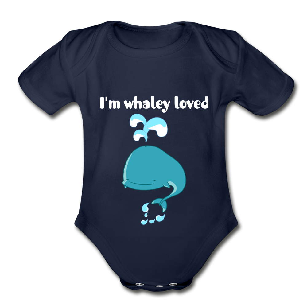 I'm Whaley Loved Organic Short Sleeve Baby Bodysuit - dark navy