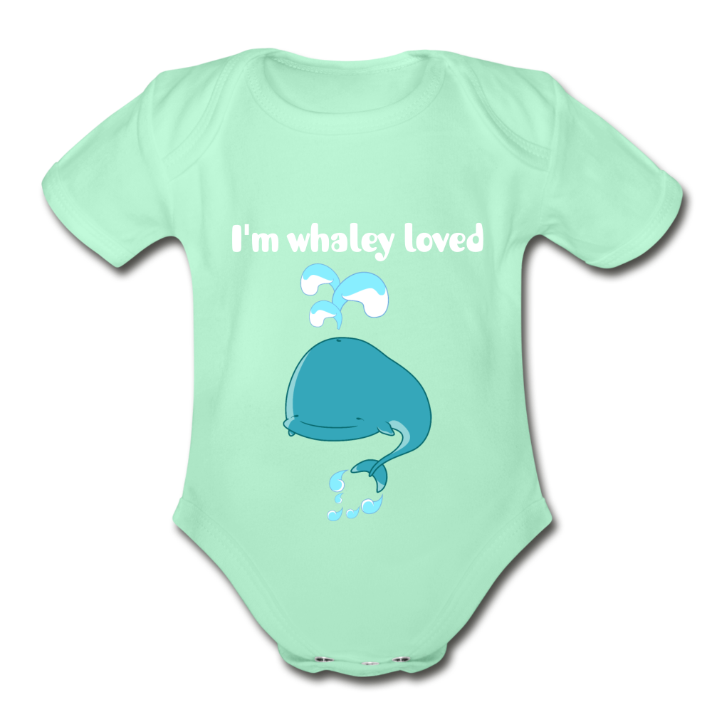 I'm Whaley Loved Organic Short Sleeve Baby Bodysuit - light mint