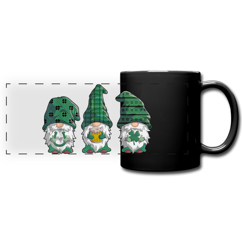 St. Patrick Gnome Trio Full Color Panoramic Mug - black