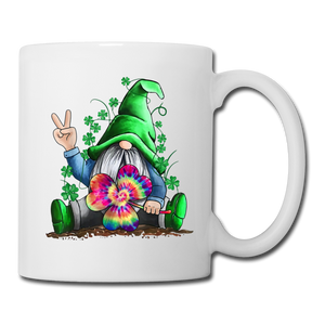 St. Patrick Peace Tie Dye Gnome Coffee/Tea Mug - white