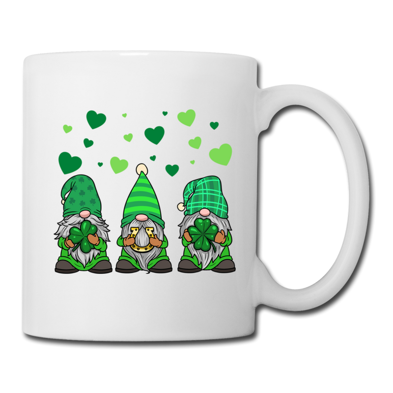 St. Patrick's Gnome Hearts Trio Coffee/Tea Mug - white