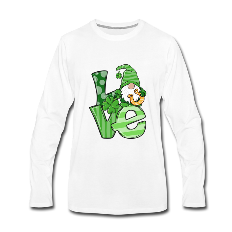 St. Patrick Love Gnome Premium Long Sleeve T-Shirt - white